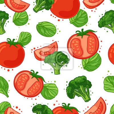 AuBergewohnlich Bild Nahtlose Muster Mit Gemüse Dekoration. Tapete Mit Einem Muster Von  Tomaten, Brokkoli Und