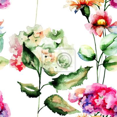 Nahtlose Muster mit Gerber und Hydrangea Blumen