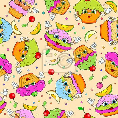 Nahtlose Muster Mit Lustigen Kuchen Comic Leinwandbilder Bilder