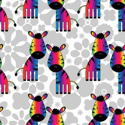 Bild Nahtlose Muster mit lustigen Regenbogen Zebras