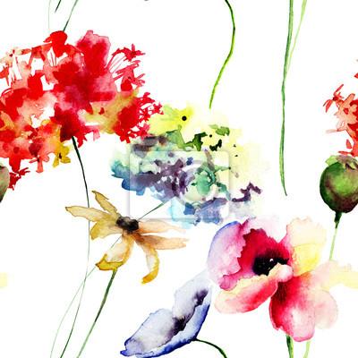 Nahtlose Muster mit Mohn und Hydrangea Blumen