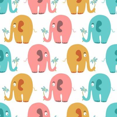 Bild Nahtlose Muster mit niedlichen bunten Tieren