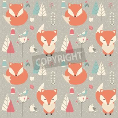 Bild Nahtlose Muster mit niedlichen Weihnachten Baby Fox umgeben mit Blumenschmuck, Vektor-Illustration