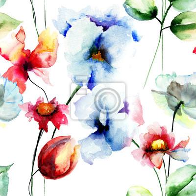Nahtlose Muster mit Original Blumen