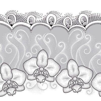 Bild Nahtlose Muster mit punktierten Motte Orchidee oder Phalaenopsis, weißer Wirbel und dekorative Spitze auf dem grauen Hintergrund. Floral Hintergrund in Dotwork-Stil.