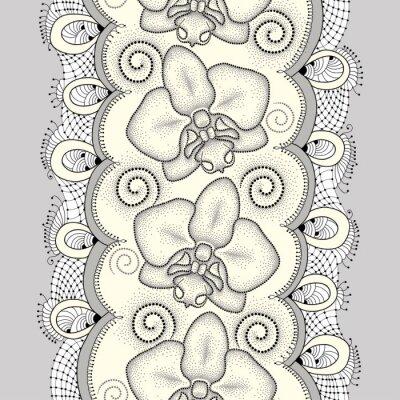 Bild Nahtlose Muster mit punktierten Motte Orchidee oder Phalaenopsis, wirbelt und dekorative Spitze auf dem hellgelben Hintergrund. Floral Hintergrund in Dotwork-Stil.