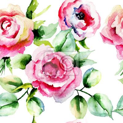 Nahtlose Muster mit Rosen Blumen