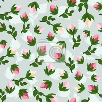 Bild Nahtlose Muster mit Rosenknospen. Vektor-Illustration.
