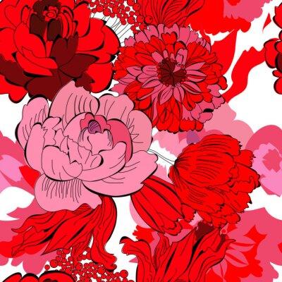 Nahtlose Muster mit roten Blumen