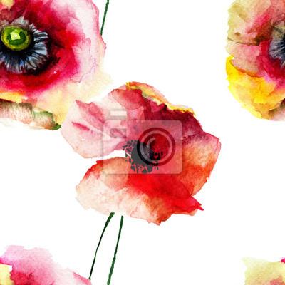 Nahtlose Muster mit schönen Mohn Blumen