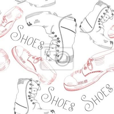 nahtlose Muster mit Schuhen auf weißem Hintergrund
