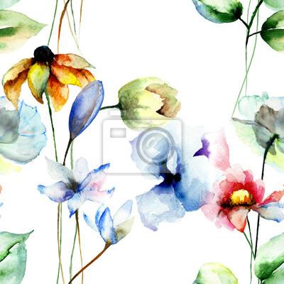Nahtlose Muster mit stilisierten Blumen