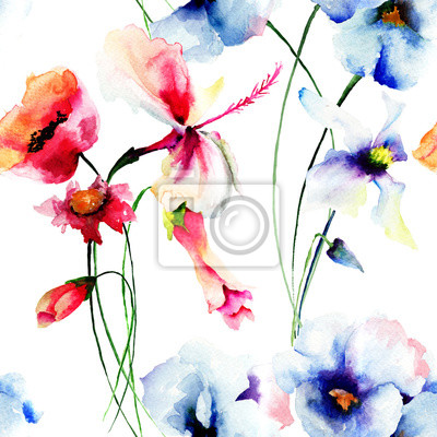 Nahtlose Muster mit stilisierten wilden Blumen