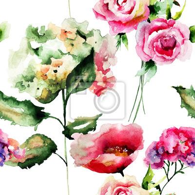 Nahtlose Muster mit wilden Blumen