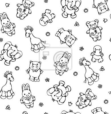 Bild Nahtlose Muster von niedlichen Tiere.