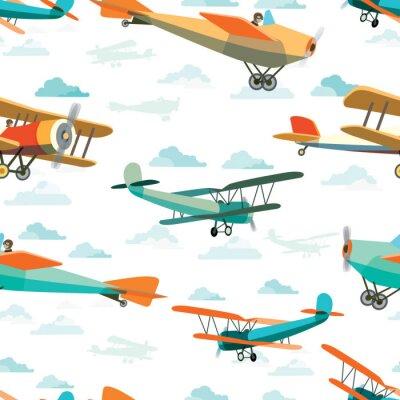 Bild Nahtlose Muster von Retro-Flugzeuge