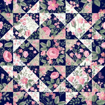 Winter Seamless Patchwork Pattern With Stars 12