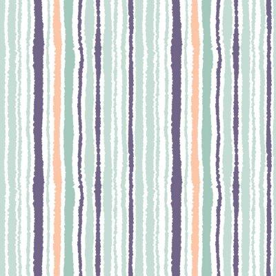 Bild Nahtlose Streifenmuster. Vertikale Linien mit zerrissenen Papiereffekt. Shred Rand Hintergrund. Hell und dunkelgrau, oliv, türkisfarben auf weiß. Vektor