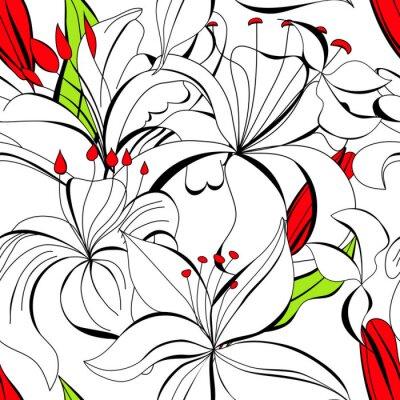 Nahtlose Tapete mit Blumen der weißen Lilie