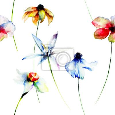 Nahtlose Tapete mit Frühlingsblumen