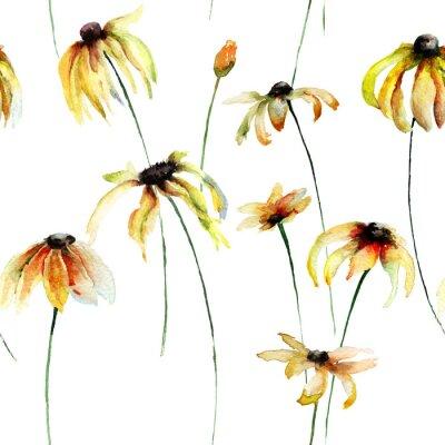 Nahtlose Tapete mit gelben Gerber Blumen