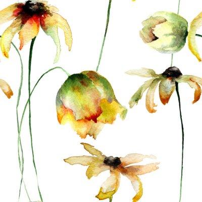 Nahtlose Tapete mit gelben Gerber und Tulpen Blumen