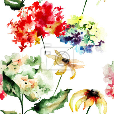Nahtlose Tapete mit Gerber und Hydrangea Blumen