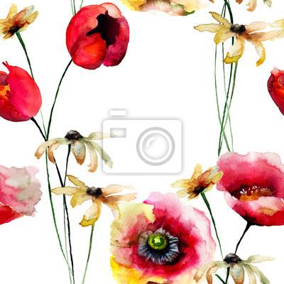 Nahtlose Tapete mit Gerber und Tulpen Blumen