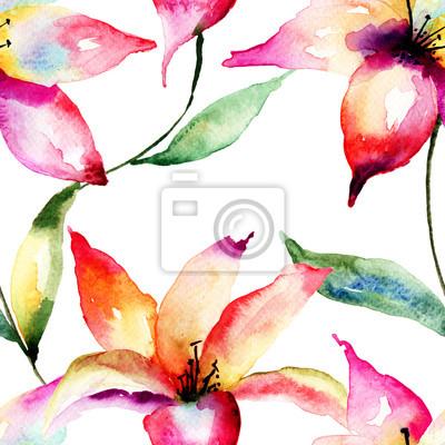 Nahtlose Tapete mit Lily Blumen