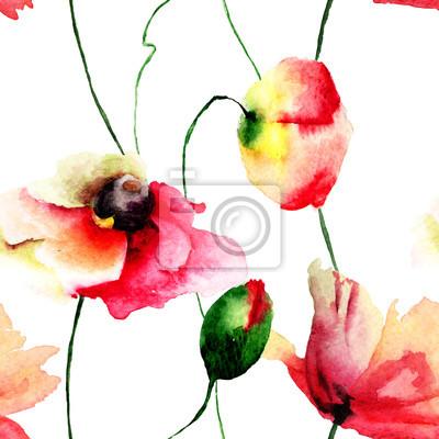 Nahtlose Tapete mit Mohnblumen Blumen