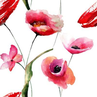 Bild Nahtlose Tapete mit Mohnblumen Blumen