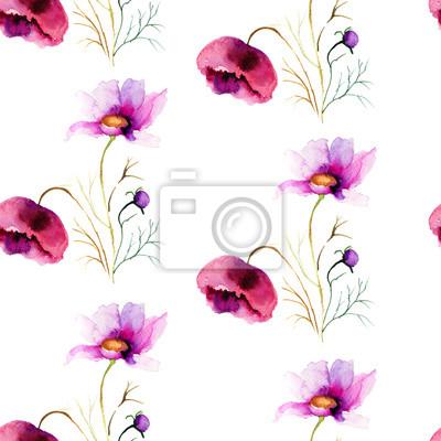Nahtlose Tapete mit stilisierten Blumen