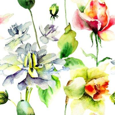 Bild Nahtlose Tapete mit wilden Blumen