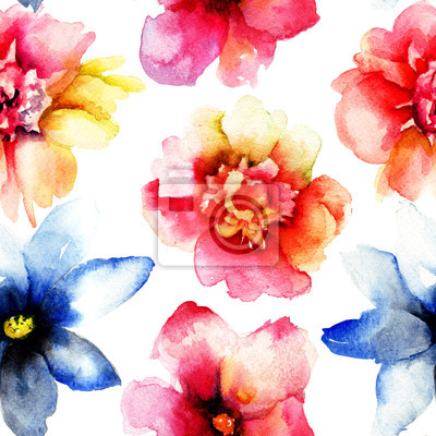 Nahtlose Tapete mit wilden Blumen