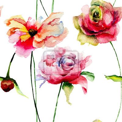 Nahtlose Tapeten mit romantischen Blumen