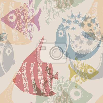 Bild Nahtlose Textur mit gemusterten Fischen