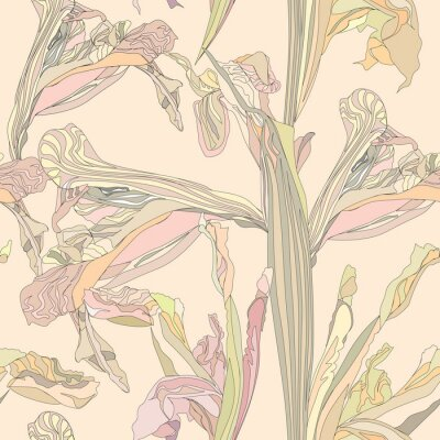 Bild nahtlose Vektor Hintergrund sanften Blumen Iris auf beige Hintergrund