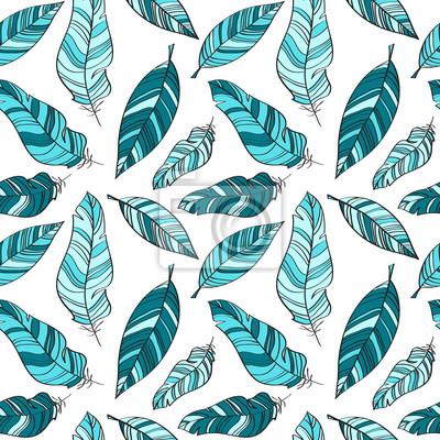Nahtlose Vektor-Muster mit blauen Federn
