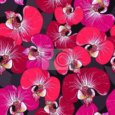 Nahtlose Vektor-Muster - rosa Orchidee blüht