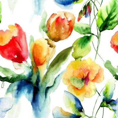 Nahtlose Wallpaper mit stilisierten Blumen