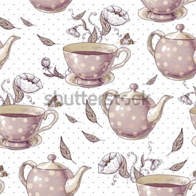 Bild Nahtloser Hintergrund mit Tassen Tee, Töpfen und Blumen in der Weinleseart.