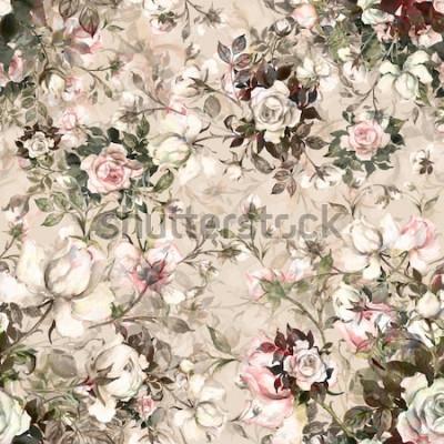 Bild Nahtloser Musterblumenstrauß des Aquarells von Rosen in Knospe Y Schönes Muster für Dekoration und Design. Trendy Druck. Vorzügliches Muster von Aquarellskizzen der Blume. Getönten.