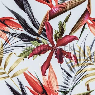 Bild Nahtloser tropischer Blumen-, Betriebs- und Blattmusterhintergrund