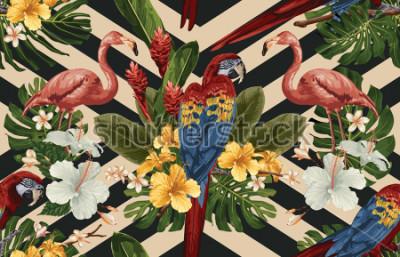 Bild Nahtloser tropischer Musterhintergrund mit tropischen Blumen, rotem Scharlachrot Keilschwanzsittich und Flamingo. Tropische Abbildung in der hawaiianischen Art der Weinlese.