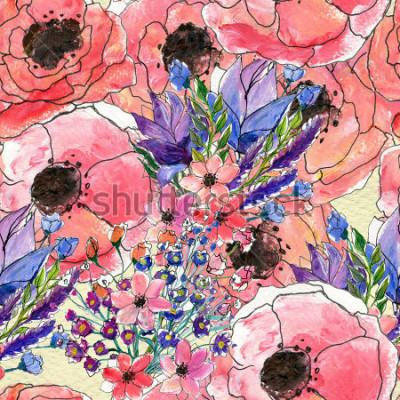 Bild Nahtloses Blumenaquarellmuster