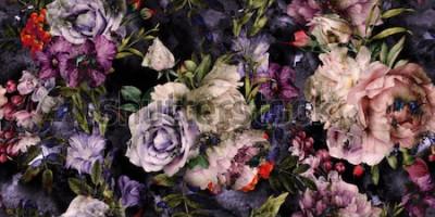 Bild Nahtloses Blumenmuster mit Blumen, Aquarell