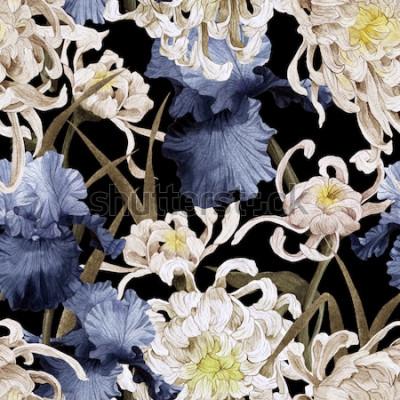 Bild Nahtloses Blumenmuster mit Chrysantheme und Iris, Aquarell