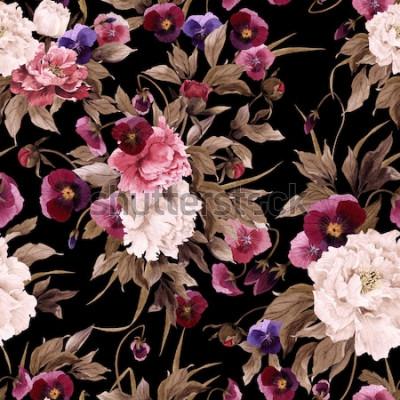 Bild Nahtloses Blumenmuster mit Pfingstrosen und Stiefmütterchen, Aquarell