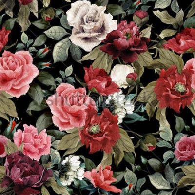 Bild Nahtloses Blumenmuster mit rosa Rosen und Pfingstrosen auf dunklem Hintergrund, Aquarell