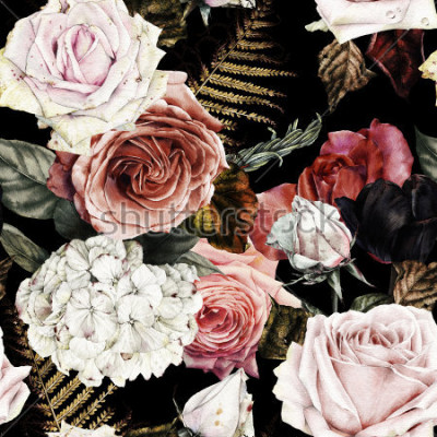Bild Nahtloses Blumenmuster mit Rosen, Aquarell.